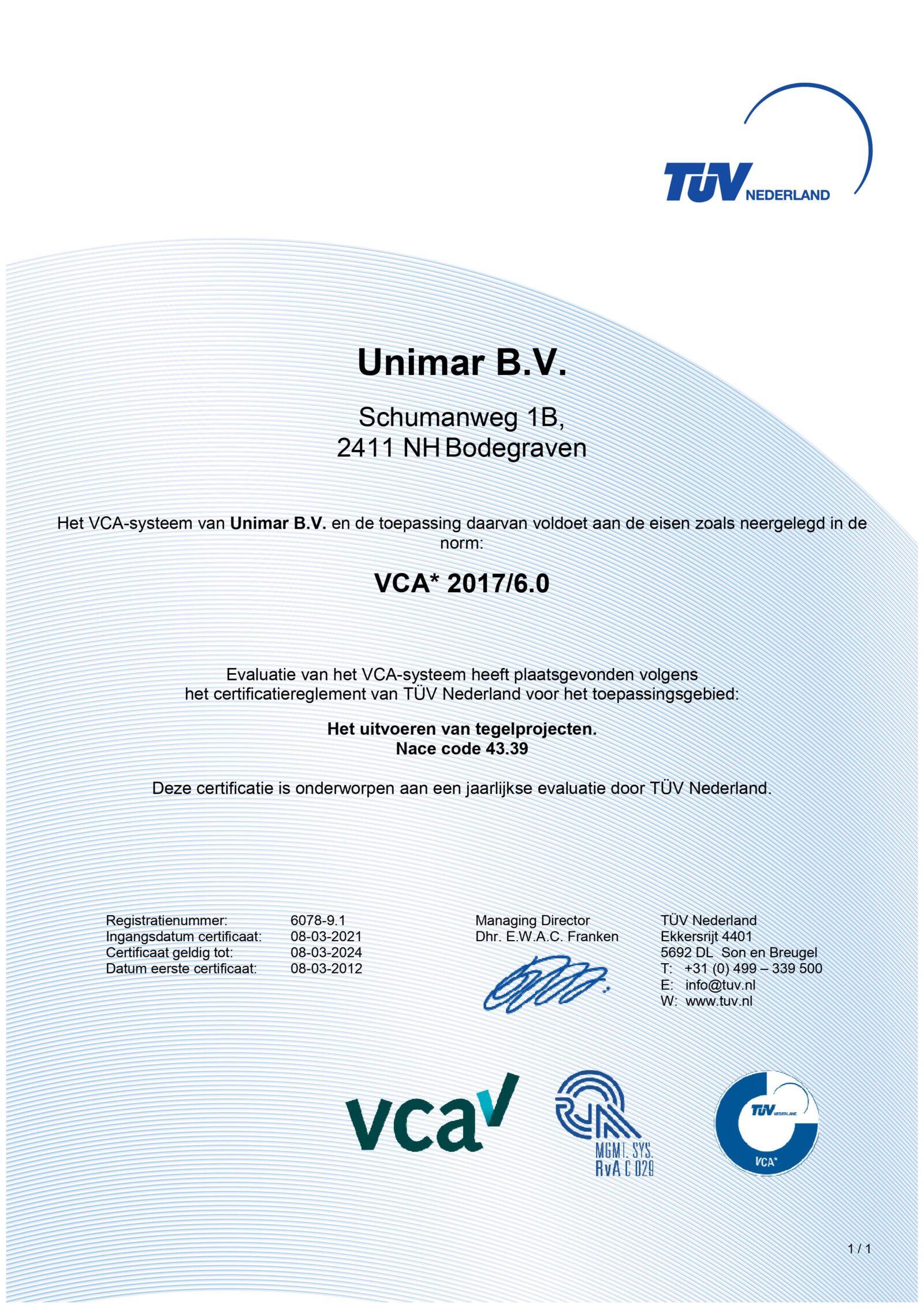 0001 certificaat VCA tm 2024